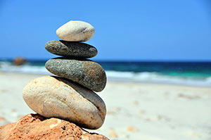 Mindfulness represented by stacked rocks